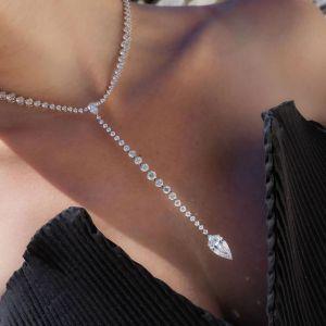 Unique Pear Cut Tennis Necklace