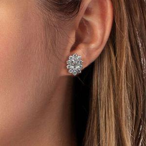Halo Oval Cut Silver Stud Earrings