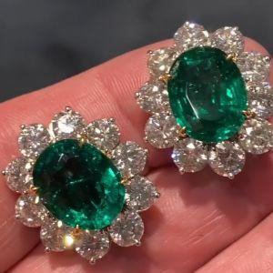 Two Tone Halo Oval Cut Emerald Stud Earrings