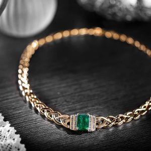 Golden Braid Design Emerald Necklace