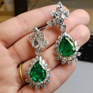 Pear & Marquise Cut Emerald Sapphire Drop Earrings