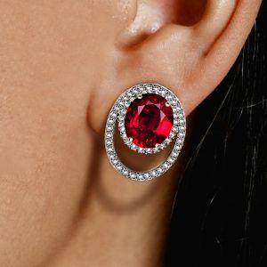 Double Halo Oval Cut Ruby Sapphire Stud Earrings