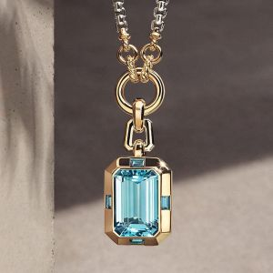 Two Tone Emerald Cut Aquamarine Sapphire Pendant Necklace