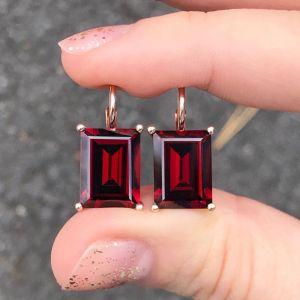 Rose Gold Emerald Cut Garnet Sapphire Drop Earrings