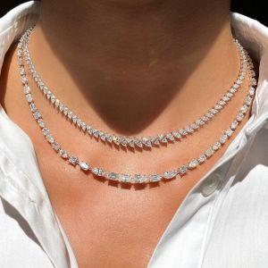 Unique Marquise & Pear & Baguette Cut Layered Necklace