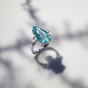 Three Stone Pear Cut Aquamarine Sapphire Engagement Ring