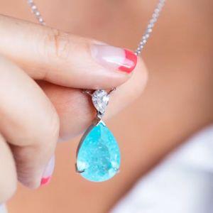 Solitaire Pear Cut Ice Blue Sapphire Pendant Necklace