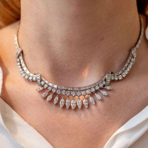 Delicate Vintage Design Marquise & Round & Baguette Cut Necklace