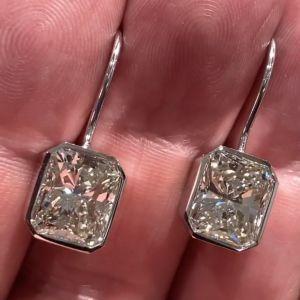 Solitaire Radiant Cut Drop Earrings