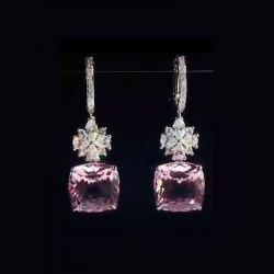 Pink Cushion Cut Drop Earrings