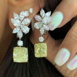 Created Yellow Sapphire Radiant Cut Drop Earrings