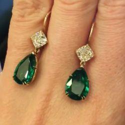 Pear Cut Emerald Drop Earrings