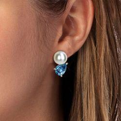 Aquamarine Pear Cut & Pearl Stud Earrings