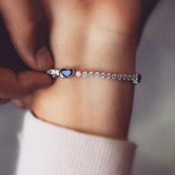 Heart & Round Cut Tennis Bracelet