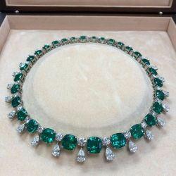 Cushion Cut Emerald Necklace