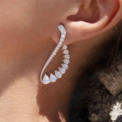 Pear Cut Cuff Earrings