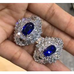 Blue Oval Cut Halo Earrings