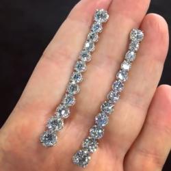 Created White Sapphire Long Dangle Earrings