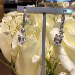 Classic Emerald Cut Created White Sapphire Drop Earrings