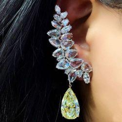 Fancy Yellow Pear Shape Earrings