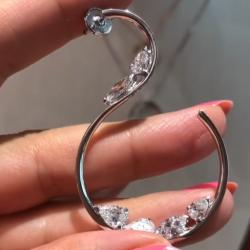 S Shaped Marquise & Pear Cut Hoop Earrings