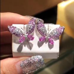Pink Butterfly Pear & Round Cut Earrings