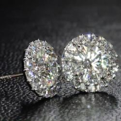 Created White Sapphire Halo Round Cut Stud Earrings
