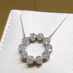 White Round Cut Pendant Necklace