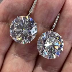 White Round Cut Drop Earrings