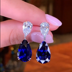 Created Sapphire Pear Cut Drop Earrings