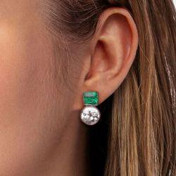 Round Cut Emerald Sapphire Drop Earrings