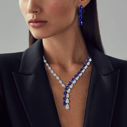Pear Cut Created Blue Sapphire Necklace & Earrings Set