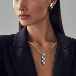 Round Cut Emerald Sapphire Necklace & Earrings Set