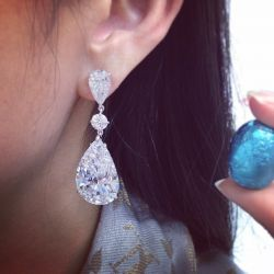 White Pear & Round Cut Drop Earrings