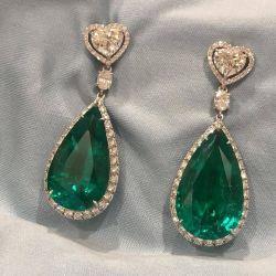 Halo Pear & Heart Cut Emerald Drop Earrings