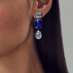 Blue Oval & Pear Cut Drop Earrings