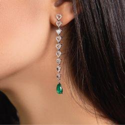 Emerald Sapphire Graded Trillion Cut Drop Earrings