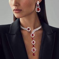 Ruby Pendant And Earrings Set