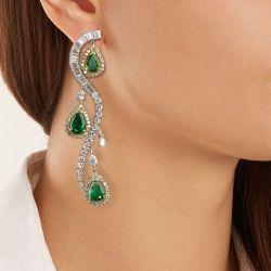Two Tone Halo Pear Cut Green Drop Earrings