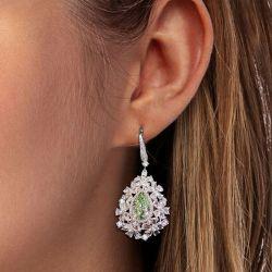 Olive Green Pear Cut Drop Earrings