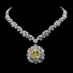Halo Radiant Cut Yellow Sapphire Necklace
