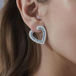 Heart Shaped Blue Sapphire Stud Earrings