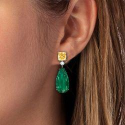 Golden Emerald Sapphire Pear Cut Drop Earrings