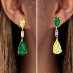 Golden Pear Cut Emerald & Yellow Drop Earrings
