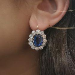 Blue Sapphire Oval Cut Cluster Drop Earrings
