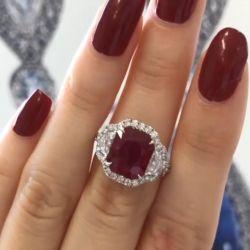 Half Moon Ruby Halo Engagement Ring