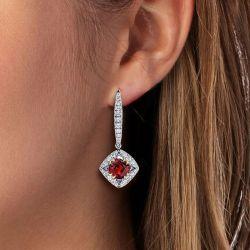 Ruby Sapphire Cushion Cut Drop Earrings