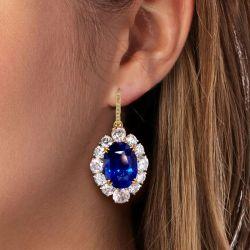 Two Tone Blue Sapphire Drop Earrings