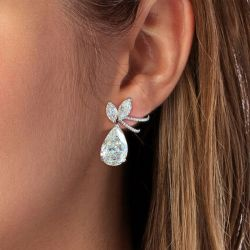 Pave Lengths Pear Cut Drop Earrings