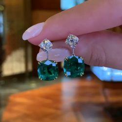 Two Tone Vivid Green Cushion Cut Drop Earrings